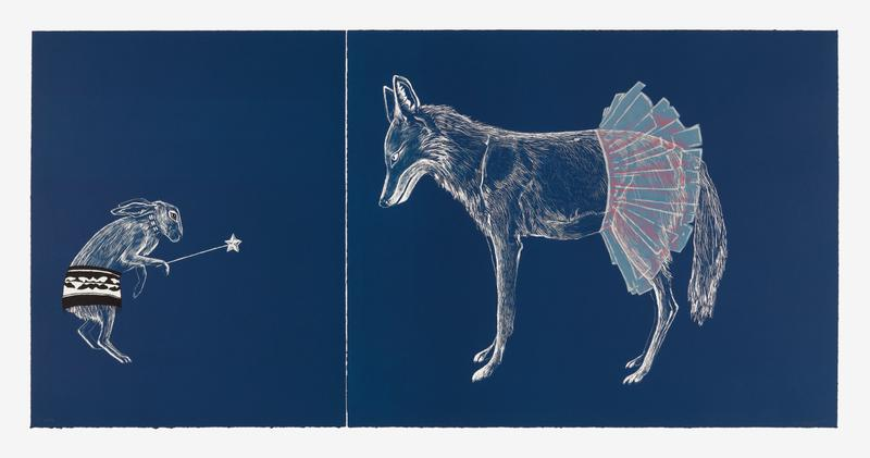 Lithograph and screenprint on two sheets of paper. Right panel is bleed printed from three plates in blue, light pink, and dark pink depicting a coyote in a tutu. Left panel is bleed printed from one plate in blue and screenprinted from one screen in black and satin gloss depicting a rabbit in a skirt with a wand.