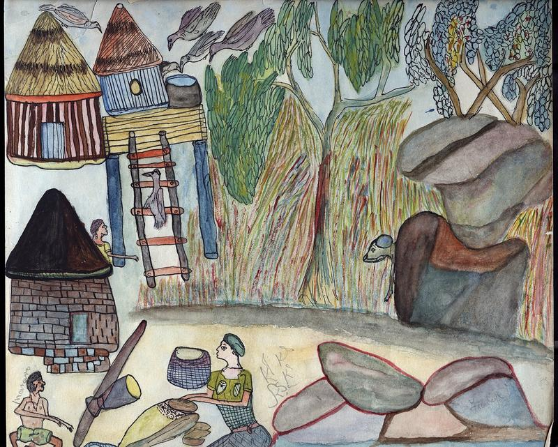watercolor drawing of an exterior scene in a village; a male and female figure in the LL corner; birds in the UL corner; trees and rocks along R side