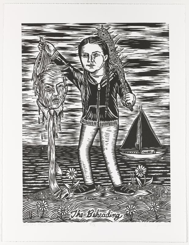 """printed in black; image a girl with braids (Greta Thunberg) wearing jeans, tennis shoes, and a zip-up hoodie, holding a spiked club over her PL shoulder and a man's (Donald Trump) severed head by the hair in her PL hand; sailboat on water behind girl; flowers in foreground at her feet; """"The Beheading"""" in cursive at bottom center of image"""