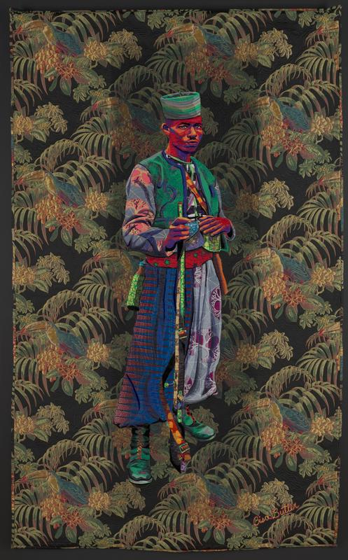 panel depicting a standing figure, wearing robes and a jacket in various colors, wearing a hat in mostly green colors; black background with drooping leaves, and toucans nestled in foliage throughout
