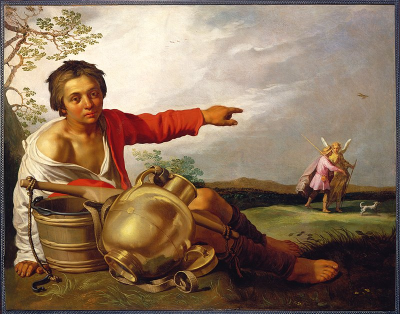 Boy seated in front under a tree with a yoke, buckets, and a jug, pointing to Tobias and the Angel walking on the right.