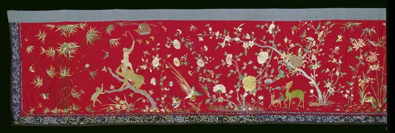 Altar hanging; red satin ground embroidered in elaborate bird and flower design.