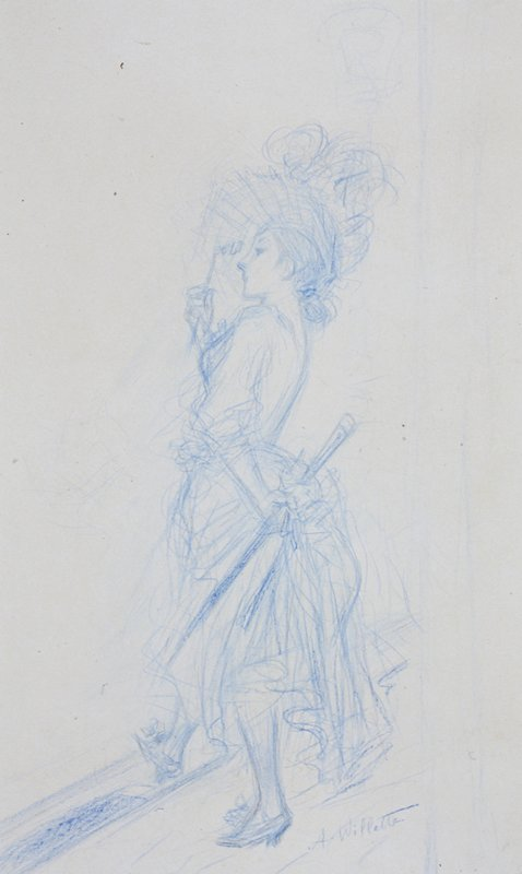 Sketch of a woman holding a cane in her proper left hand and a lorgnette in her proper right hand, which she has in front of her eyes