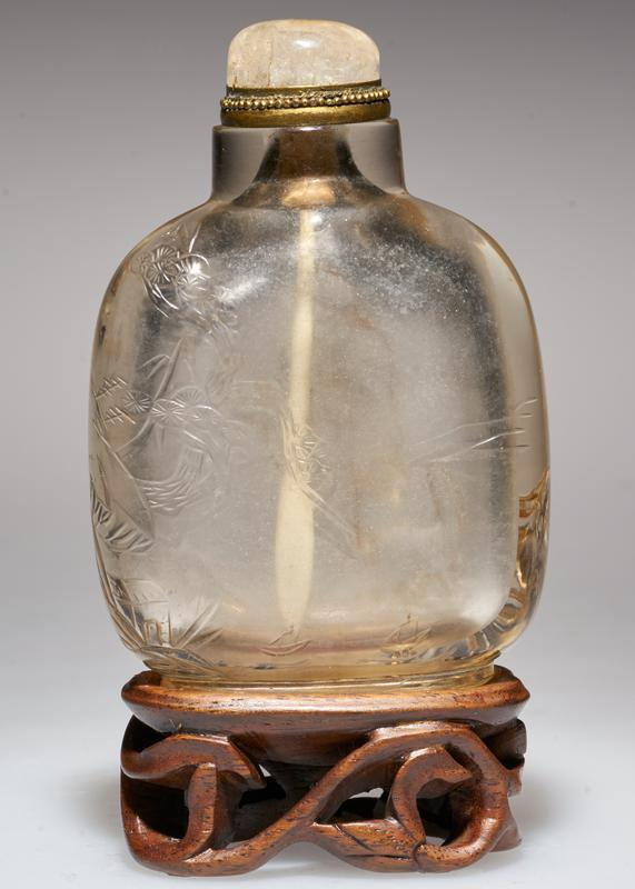 crystal with quartz top; carved on the outside with 'Thao-li' deer, bat and pine tree