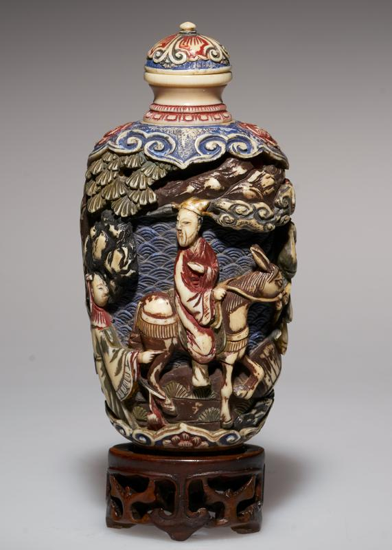 carved, colored; very fine piece of carving