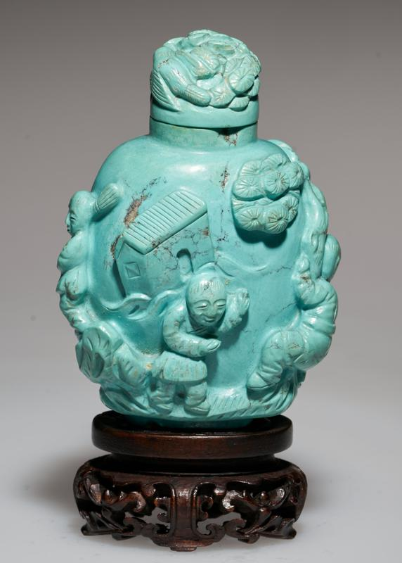 Snuff bottle. Turquoise. Turquoise top. Carved with figures, children at play.