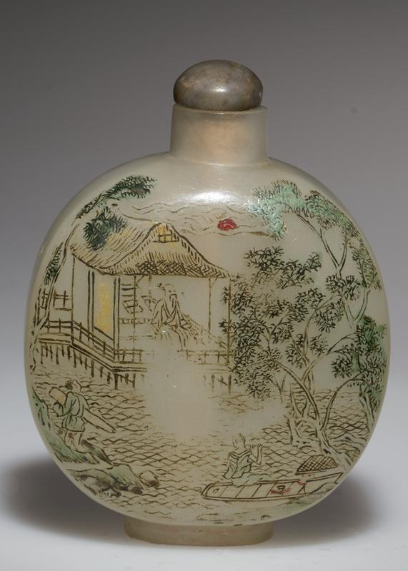 glass stone top; cream color; colored etching on opaque glass