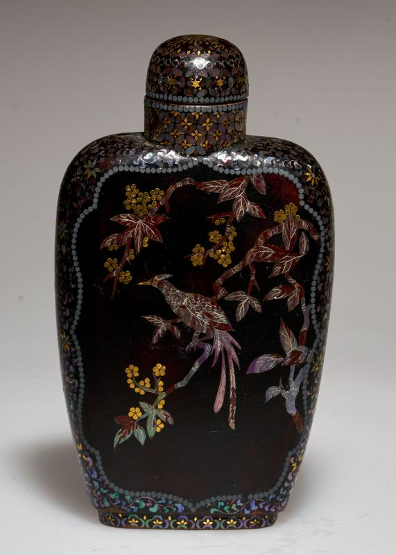 Snuff bottles, pair of, black lacquer inlaid with design of birds and flowers in mother of pearl. Teakwood stands.