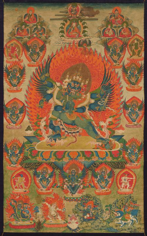blue figure with 3 heads (one white, one blue and one red), 6 arms, 4 legs and wings embracing a green figure with long red hair; flaming mandala behind figures; small thrones below, above and at R and L with various demons, humans and part animal/part human figures; multicolored pigments