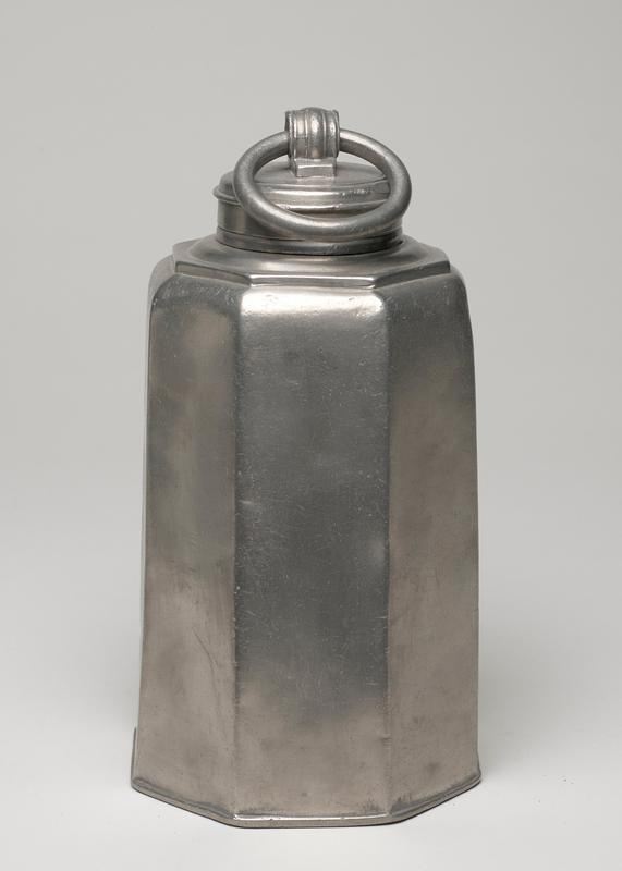 covered can, truncated octagonal shape with screw top with moveable ring handle
