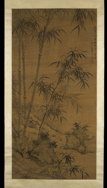 tall bamboo stalks with leaves growing next to a stream with rocks at LL and R side near bottom; wood roller
