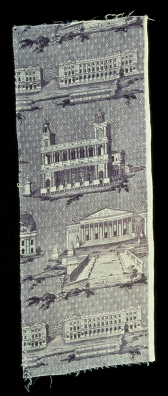 Toile, fragment, Monuments of Paris design. Copperplate print in mauve. The repeat shows the Place de la Concorde with Madeleine in the background; Saint sulpice, and the Chamber of Deputies.