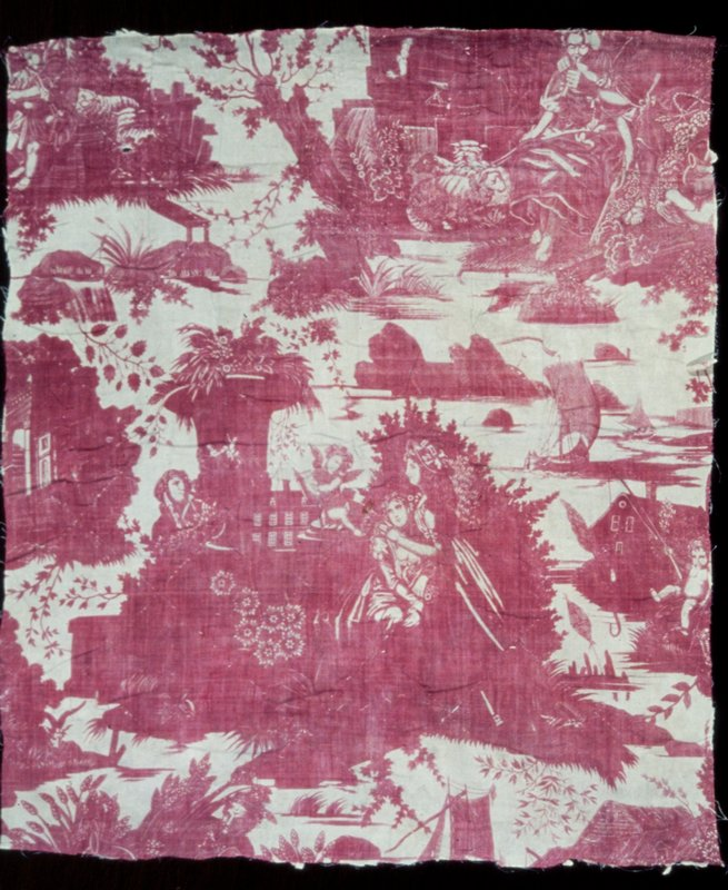 Toile, fragment of, printed in rose with L'Art d'Amour design.