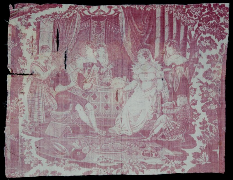 Toile, fragment, printed in rose with a scene representing a poet(?) reading to a woman seated at a table laden with fruit, etc. A group of women, one playing a lyre, and a boy holding a large dog, surround the central figures. Faded and torn; pathched in spots.