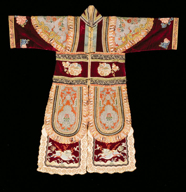 Imperial theratrical robe for a warrior; crimson velvet with panels of imported European brocade.