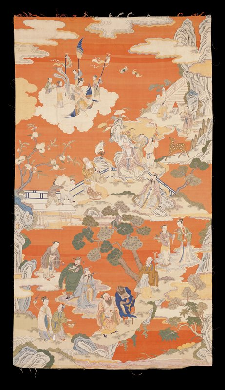 Picture hanging of soft brick-red kesi representing 'The Feast of Peaches,' a favorite subject with the Chinese. In the upper left, Xi Wangmu descends from her clouds on the phoenix. At the upper right are the gateway and stairs to paradise. beneath are the gods of office, longevity and happiness, and the Eight Immortals. In the field are spreading pine trees, peach trees, bats, the crane, spotted deer, and other symbols of longevity and immortality. Shades of blue, green, red, peach and tan. Painted details. A kesi (silk tapestry) picture which was hung in the Imperial Palace of the Forbidden City in Beijing on special occasions. This is an outstanding example of this type of weave. It is 3 x 5 feet. The background is of old rose or peach, a shade of which the Chinese were especially fond. The other colors are blended with the skill which characterizes old work of this nature. The scene is one that is familiar to the Chinese, representing 'The feast of the Peaches' (Bao Dao Hui), which took 3,000 years to ripen and conferred immortality on the partakers. Xi Wangmu, the Goddess of the Western Heavens, is descending from the clouds on her phoenix to attend the feast. The gateway and stairs leading into Paradise, situated in the Kunlun Mountains, show at the upper right. The three Gods of longevity, Office and Happiness are seated in the center of the borders of the 'Lake of Gems', Yao Chi; the eight immortals with two attendants appear in the lower part of the picture. The peaches, crane, pinecones, scattered fungus, spotted deer, etc.; typify longevity and immortality. This picture is of the Qianlong period (1736-1795). Former Classification: Textiles - Tapestry