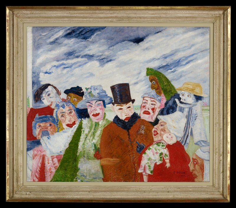 Composition is very similar to L'Intrigue by Ensor in collection of Royal Museum of Fine Arts, Antwerp, which measures 35 1/2' x 59' and is dated 1890.