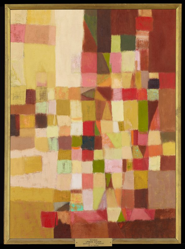 Abstract painting with multiple squares and rectangles.
