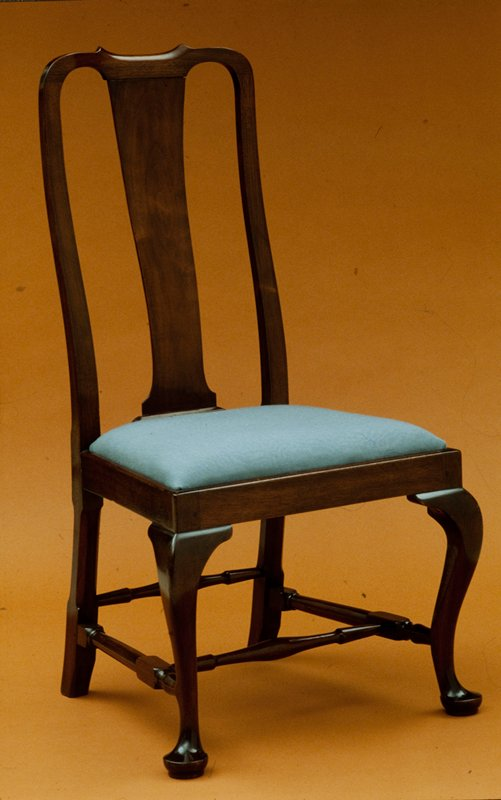 Side Chair, walnut, upholstered seat Queen Anne. Holiday Traditions, Providence Room (remove)