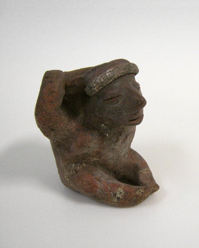 Figure carrying vessel, ceramic, Mexican (Nayarit) 200-400AD cat. card dims H 3-1/2 x W 3-1/4'