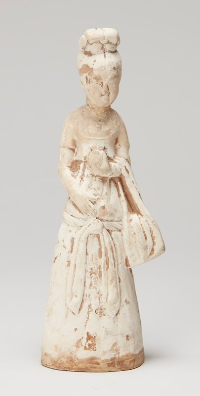 one of a pair of figurines, lady holds jar in hand
