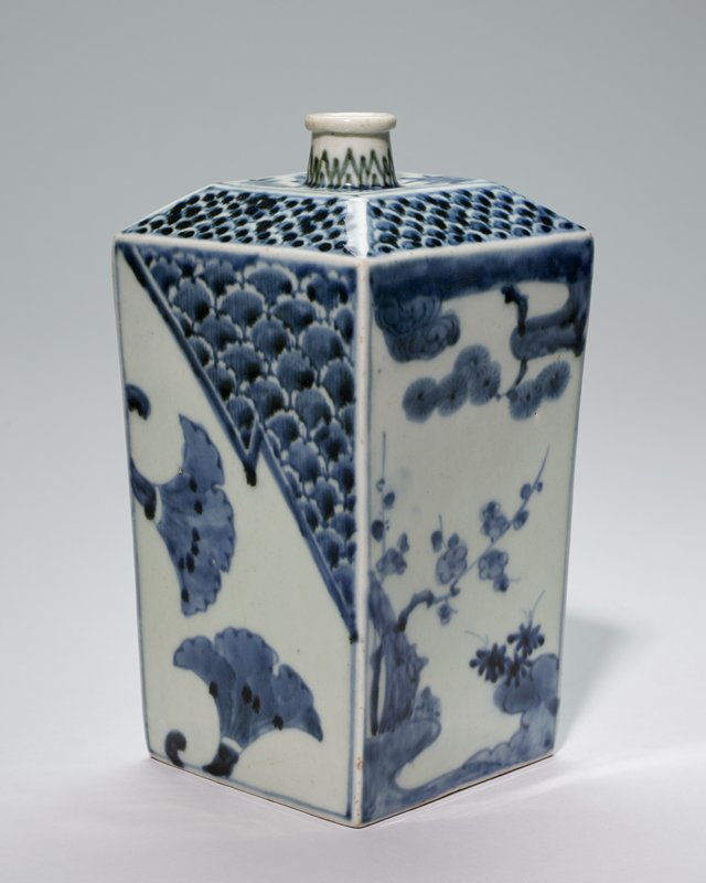 sake bottle rectangular, blue and white Imari, with pine, bamboo and prunus branches; porcelain