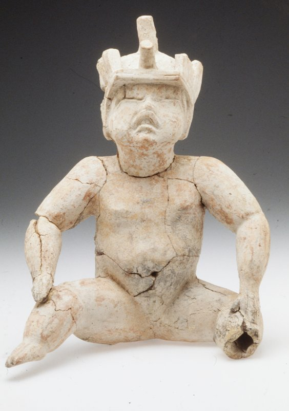 Seated Figure with Flaming Eyebrows,ceramic, extensively repaired
