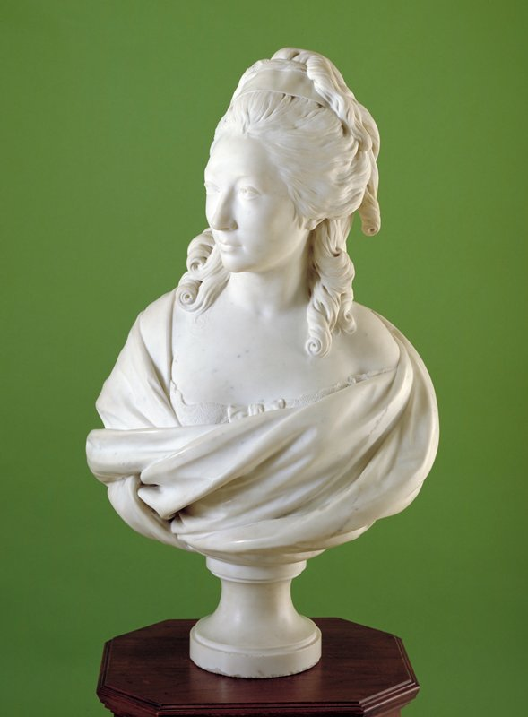 'Portrait of Madame de Serilly', white marble, French XVIIIc. cat. card dims H. 34-l/2 x W. 24'; weight 271 lbs.