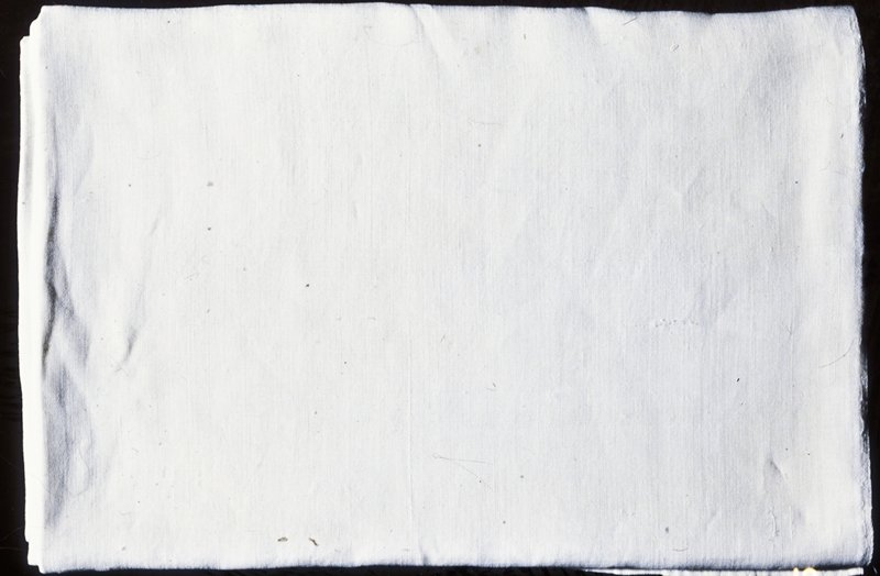sheet with embroidered initials [S?V]; natural color, plain weave