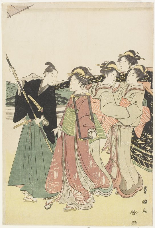 left piece of vertical ōban triptych