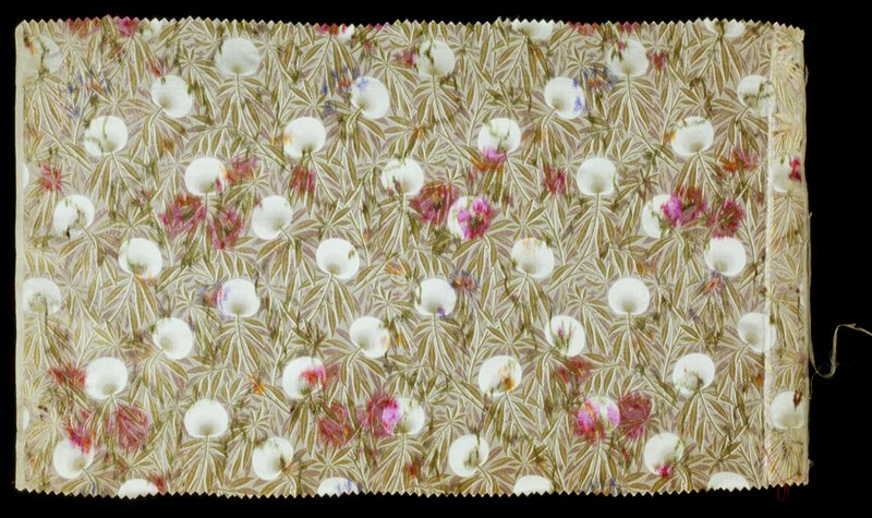 with supplementary weft pattern; fine leaf pattern in light green and pink with interspersed purple and pink splotches