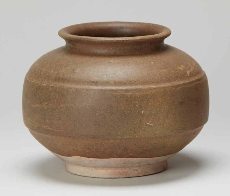 jar globular shaped with short neck and flared lip, footed; speckled olive-brown glaze