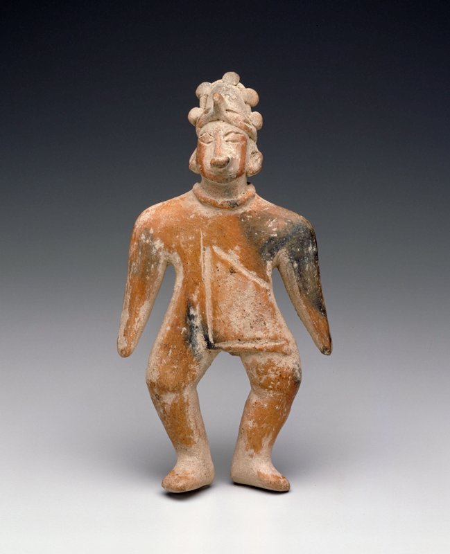 Standing Male Figure, flat, solid, burnished buff clay. Wears cape, applique headdress, noseplug, necklace, West Mexican (Colima), 100BC - 300AD