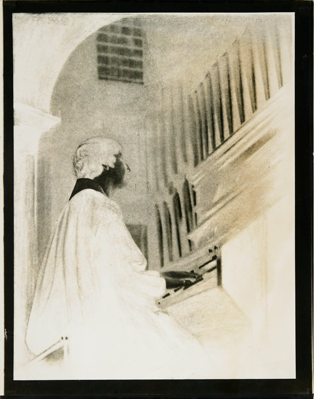 organist; graphite drawing on verso