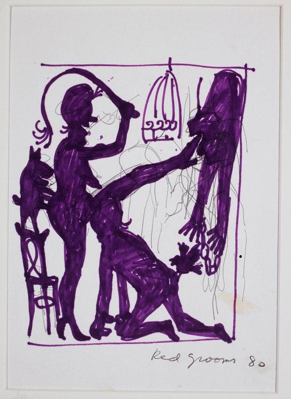 Female nude (center) with her leg raised, holding a whip; man crouched at her feet on R; dog on a chair behind her, L; empty bird cage, UR; hanging, hand-cuffed figure UR