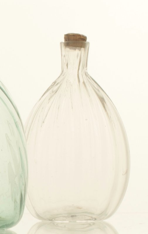 Chestnut flask, 16 vertical ribs, clear, tool marks typical of Mantua glasshouse; bottle and dishes from Ohio Manufacturers, 159 items in all, from the Walter Douglas Collection in Centerville, Ohio
