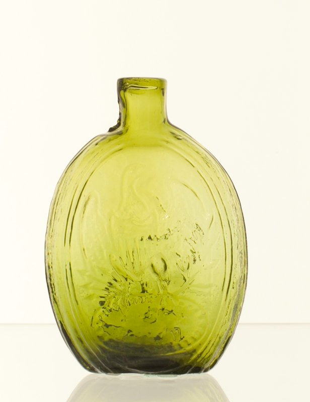 Sheppard historical flask, green, American Eagle on one side, marked Zanesville; Blaske Collection # 302; bottles and dishes from Ohio Manufacturers, 159 items in all, from the Walter Douglas Collection in Centerville, Ohio