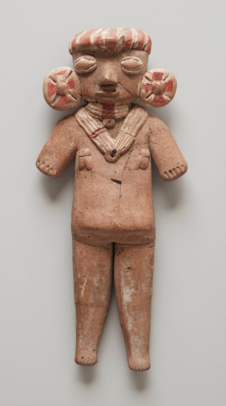 Standing Female Figure, beige clay, has large flat earspools with crossed incisions, protruding hair, four strand necklace with pendant ornaments. traces of red and white pigment on hair, earspools amd necklace. Mended, old breaks visible in torso, head and hat, 1/2 in. chip missing in stomach.