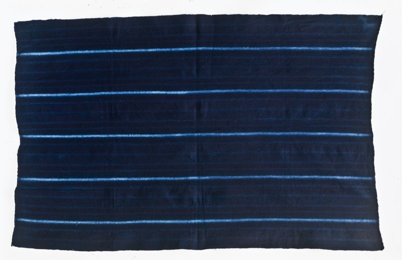 woman's skirt length, cotton, indigo dye, African XXc (63-1/2 x 39-1/2') *another box of textiles in T22, Bin 2 up lists 85.125.11; one might be .13 Name of Cloth: Serede Sarkoudiou-a cloth with a line that goes straight ahead. Usually worn by old women.
