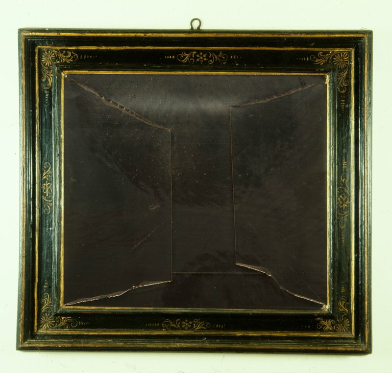 frame, Italian (Neopolitan) or Spanish, wood cassetta frame with deep outer rails, gilded rails and arabesques on black panels, sight size 29½ x 26 in.; on Joan Miro, 'Les Cartes Espagnoles', 62.73.2