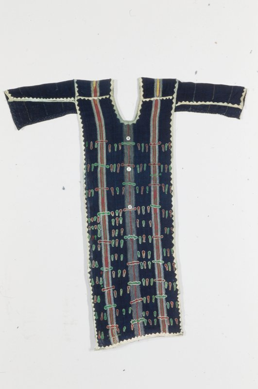tunic, alternating indigo-dyed strip cloth and striped strip cloth, embroidered and appliqued; buttons, cotton