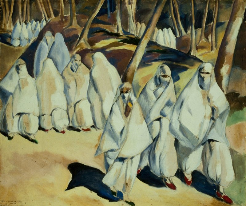 Four groups of robed figures in trees. Three figures walk forward in the foreground group.