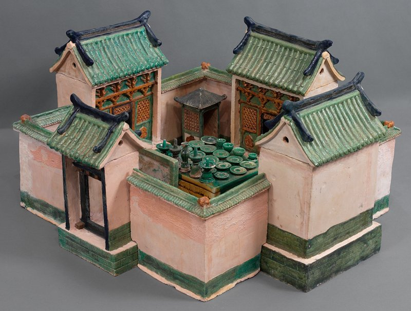 food plate (peaches?) from wedding procession; three color glazed ceramic; one set of 33 pieces, including wedding party, palanquin, wedding chests, ceremonial food and wedding party