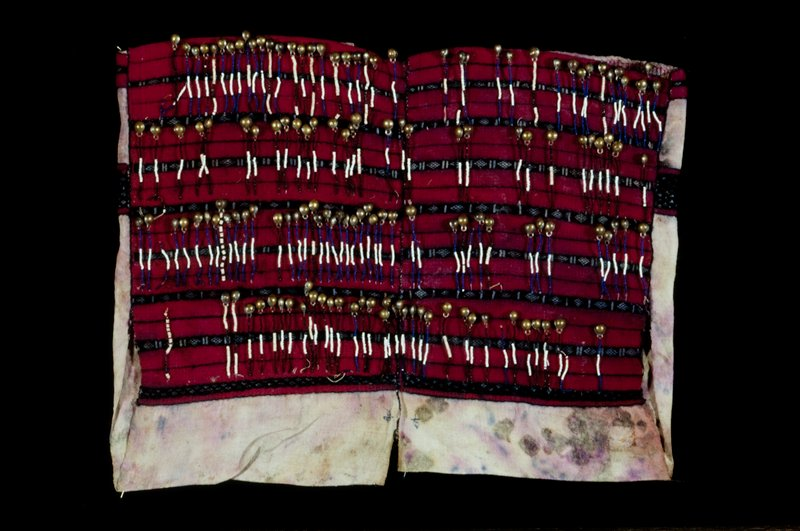 woman's blouse, sotton, wool, glass beads and metal bells; supplementary weft patterning and applied beads