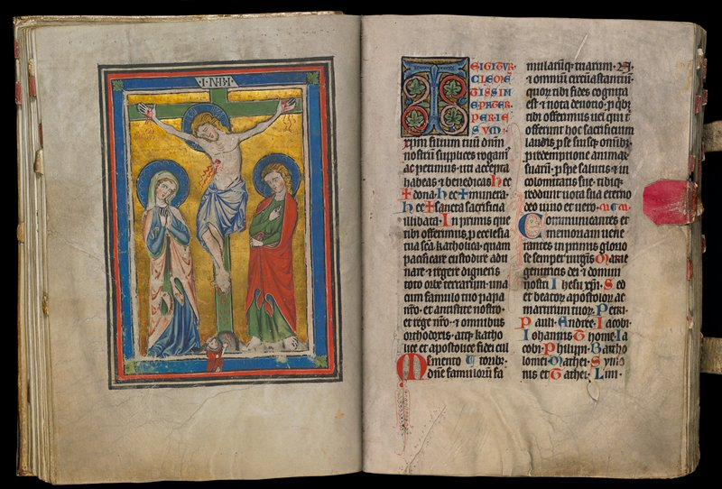Bound missal; 373 folios; includes illuminated miniatures, historiated initials and 15th c. binding of tooled pigskin with engraved brass corners and centerpiece