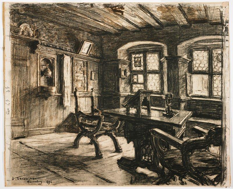 Leon Lhermitte, La Chambre de Durer a Nuremberg, black chalk 1896