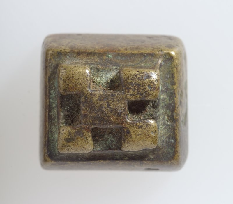 One of 37 Gold weights, bronze, various sizes; pattern checkerboard