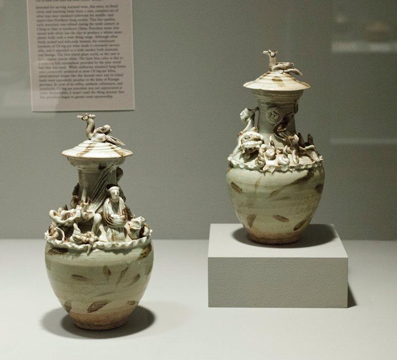 stoneware, chingpai and splashed iron glazes, molded decor