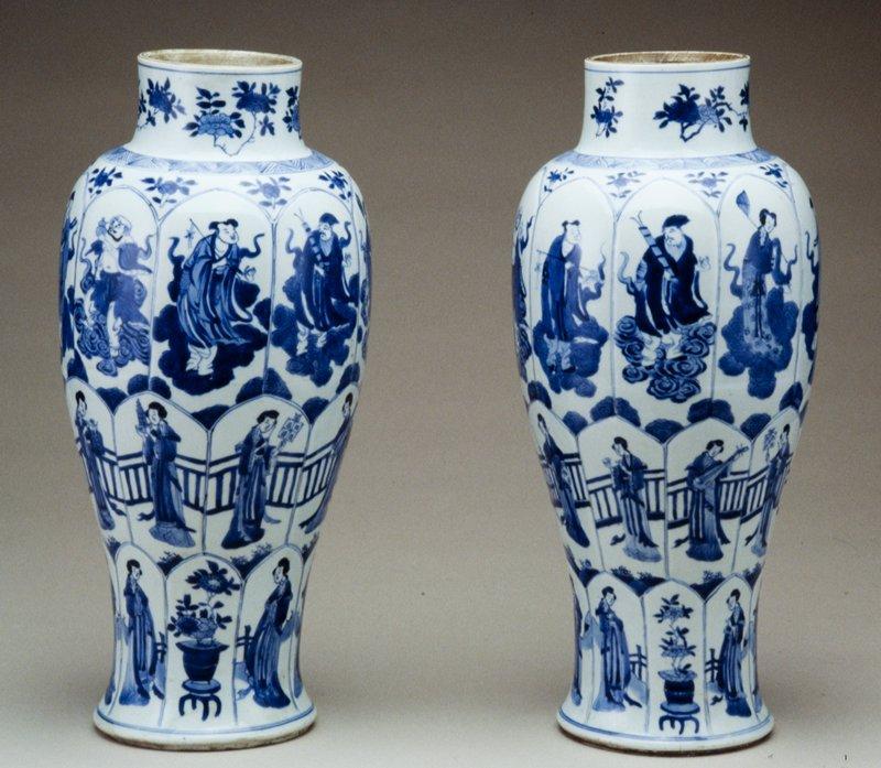 blue and white baluster jar, ceramic, Kangxi
