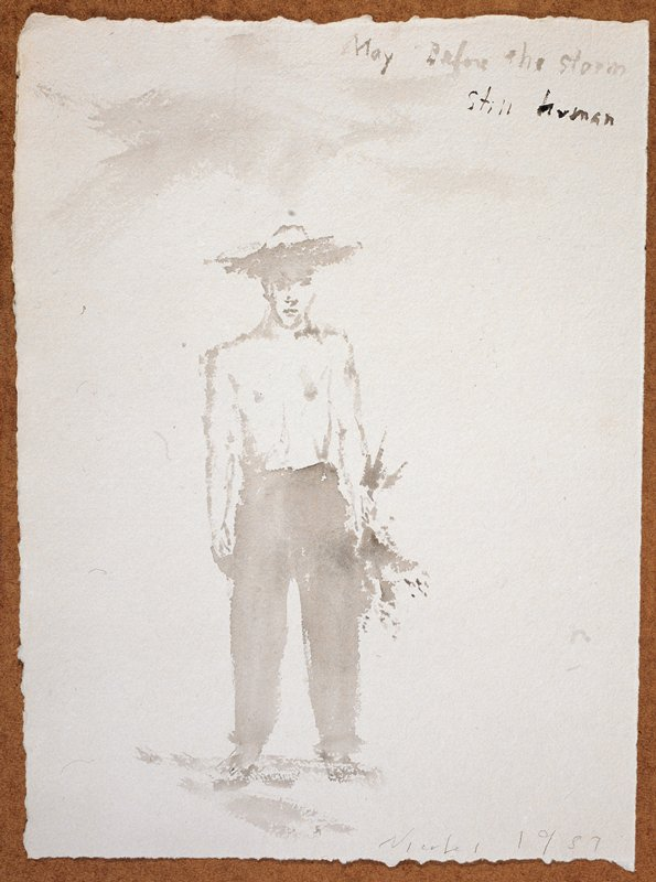 """Full length portrait of a man in a wide rimmed hat, clothed from the waist down; he holds a bushel of flowers in his PL hand and faces the viewer; """"May Before The Storm/Still Human"""" scrawled in UR quadrant"""